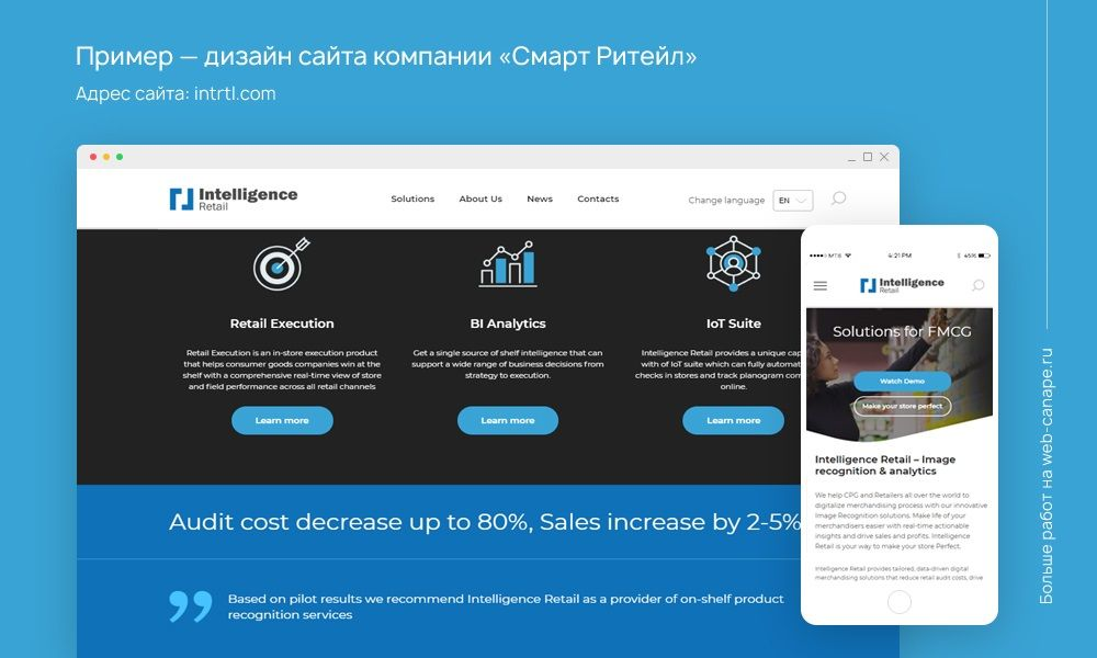 Дизайн сайта компании Intelligence Retail